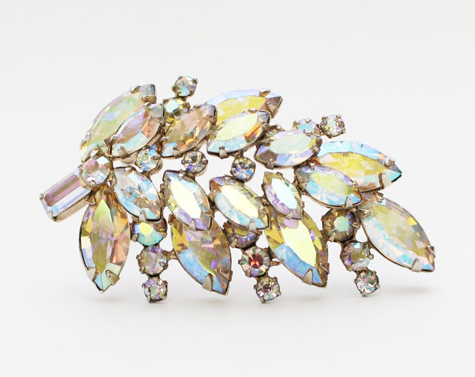 Sherman Rhinestone Leaf Brooch - Vintage 1950s White Aurora Borealis Brooch