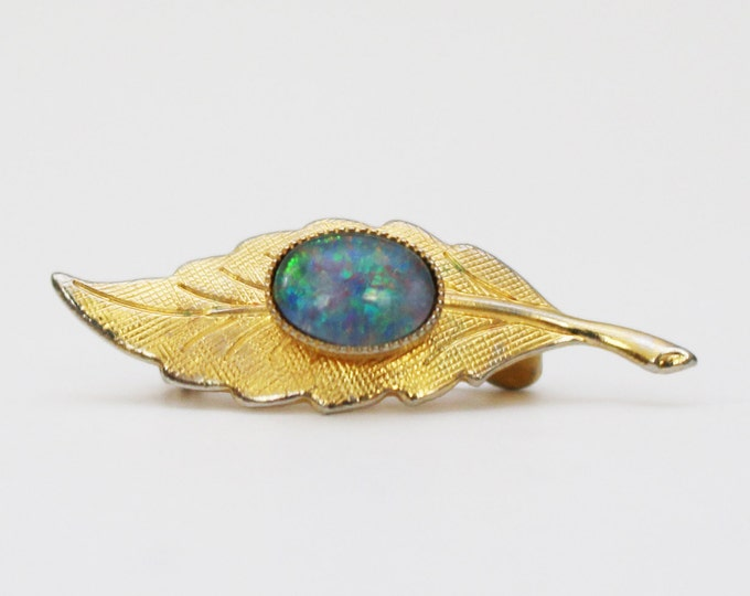 Gold and Opal Feather Brooch - Vintage 1970s Gold Tone and Faux Opal Micro Brooch