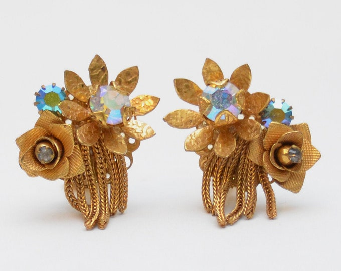 Vintage 1960s Kramer Rhinestone Flower Earrings