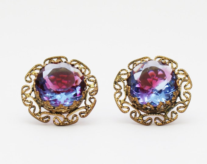 West Germany Purple Stone Filigree Earrings - Vintage 1950s Clip Earrings