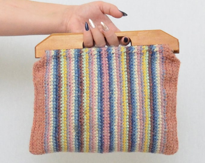 Vintage Purple and Blue Knit Tote Bag - 1960s