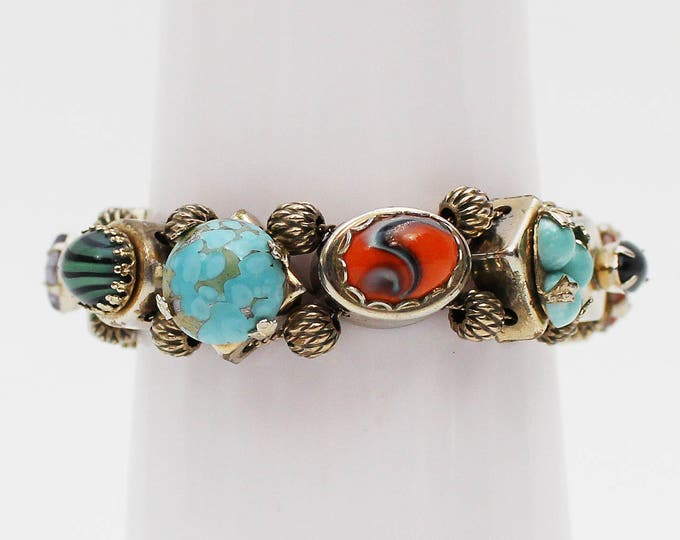 Turquoise and Art Glass Bracelet - Vintage 1960s Multi Stone Bracelet