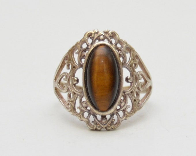 Vintage Sterling Silver Tiger Eye Womens Ring - Size 9