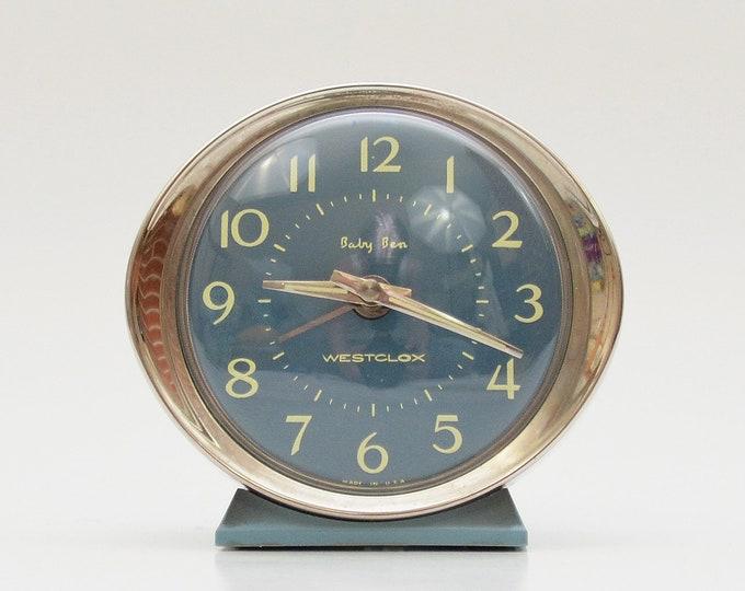Vintage 1960s Blue Baby Ben Alarm Clock by Westclox