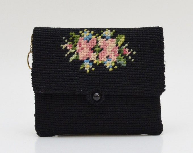 Vintage 1930s Needlepoint Coin Purse