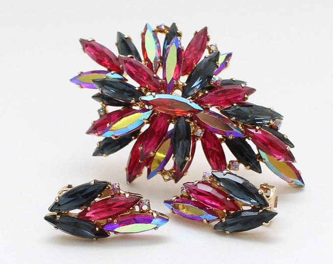 Pink and Blue Rhinestone Demi Parure - Brooch and Earrings Set - Vintage 1960s Navette Brooch and Clip Earrings