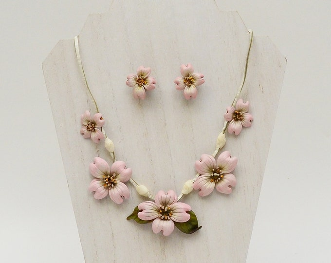 Vintage 1930s Leather Flower Necklace and Earrings Set