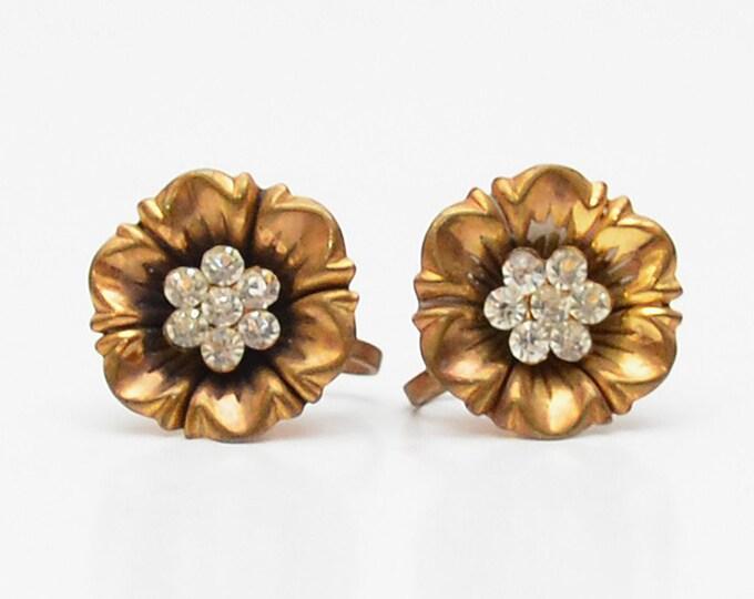 Vintage 1940s Gold Flower Earrings