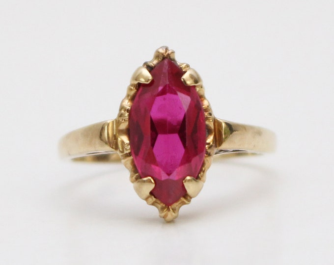 Antique 10K Gold Pink Garnet Marquise Ring - Size 5