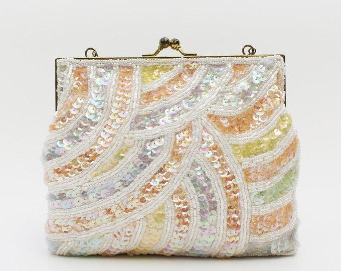 Pastel Sequin Beaded Handbag - Vintage 1960s Beaded Evening Bag