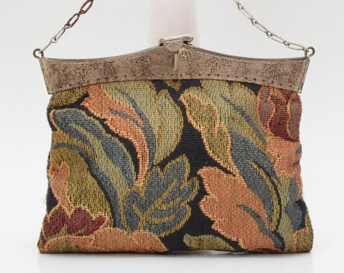 Antique Edwardian Chintz Floral Tapestry Handbag