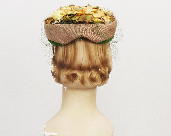 Floral Pillbox Hat - Vintage 1950s Silk Flower Church Hat - Tan Green and Yellow Women's Formal Hat