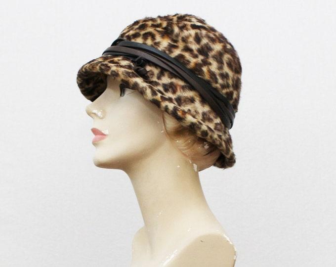 Leopard Print Fur Hat - Vintage 1970s Animal Print Womens Hat