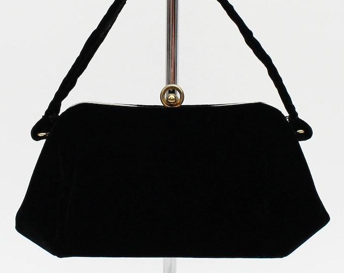 40s Black Velvet Handbag - Vintage 1940s Deco Era Evening Bag