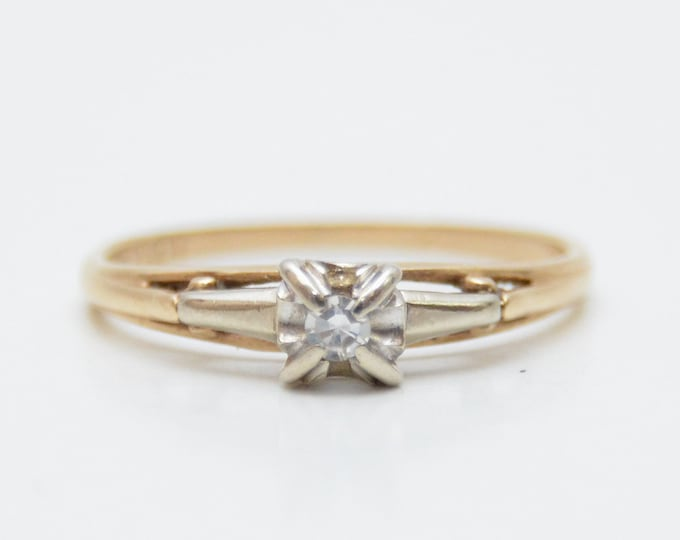Vintage 14K Gold Diamond Engagement Ring - 1950s