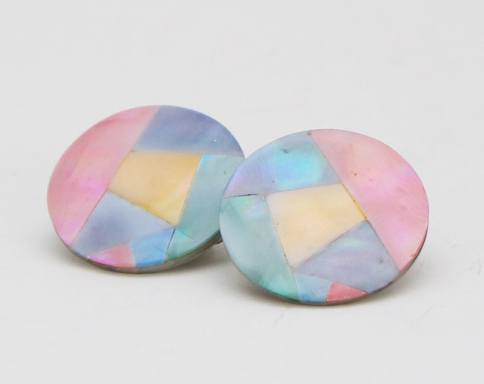 Vintage 1980s Pastel Dyed Shell Inlay Earrings