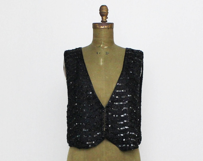 Vintage 1980s Black Sequin Vest - Size Medium
