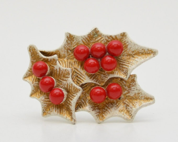 Vintage Enamel Holly Brooch - 1940s