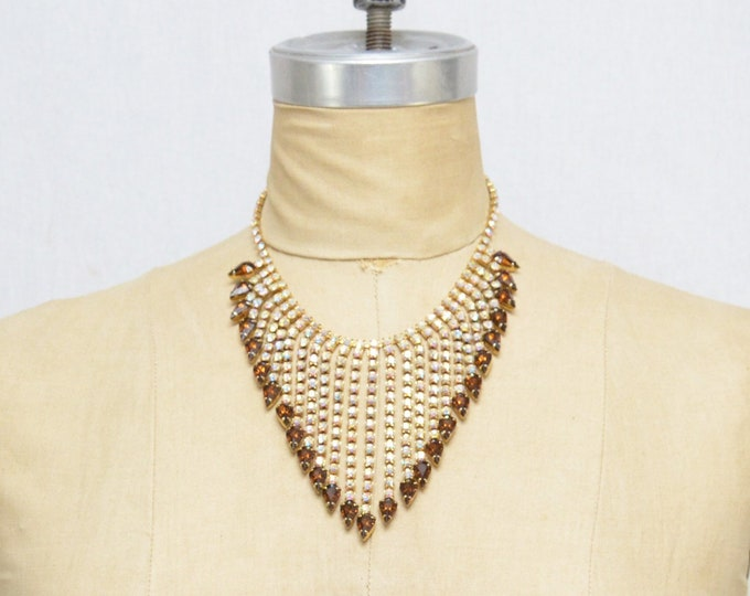 Vintage 1960s Rhinestone Bib Necklace