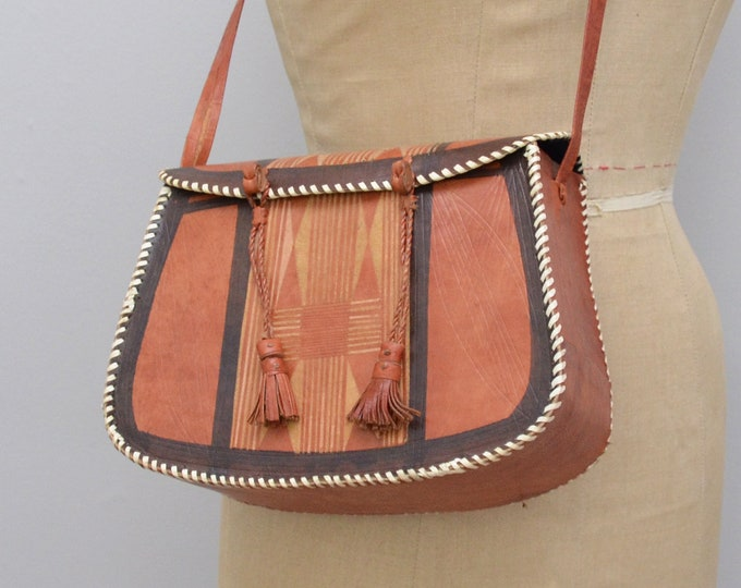 Vintage Boho Tooled Leather Shoulder Bag - 1970s