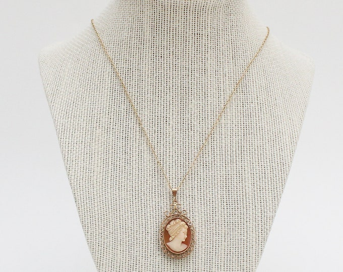 Antique 9ct Gold Cameo Necklace - Vintage 1920s Carved Shell Cameo Pendant