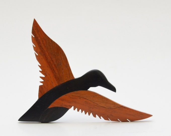 Vintage Wooden Bird Brooch - 1960s