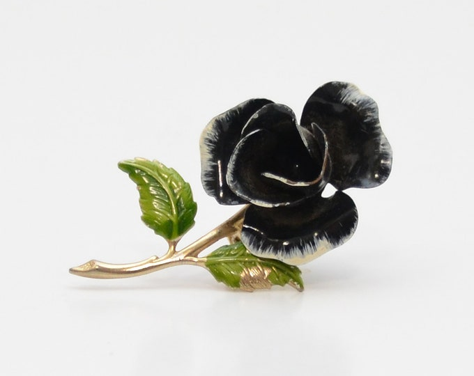 Vintage Black Enamel Rose Brooch