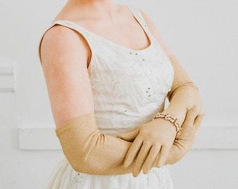 Gold Opera Gloves - Vintage 1960s Metallic Evening Gloves