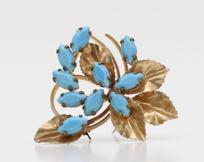 Vintage 1950s Gold and Turquoise Rhinestone Leaf Brooch