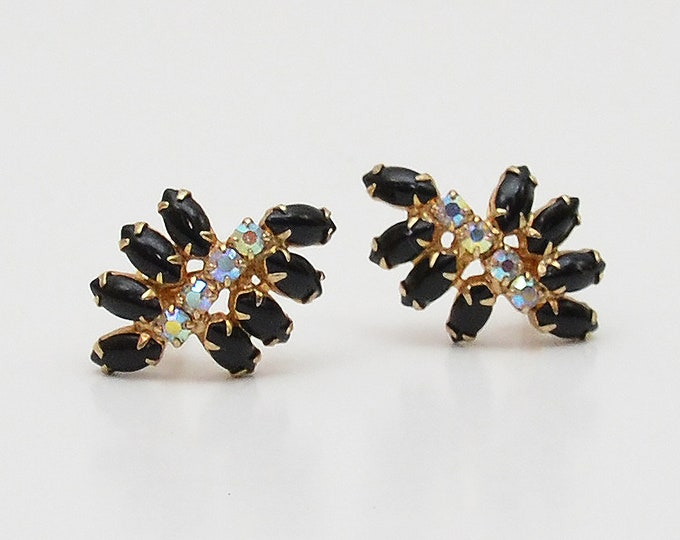 Vintage Black Rhinestone Clip On Earrings - 1960s