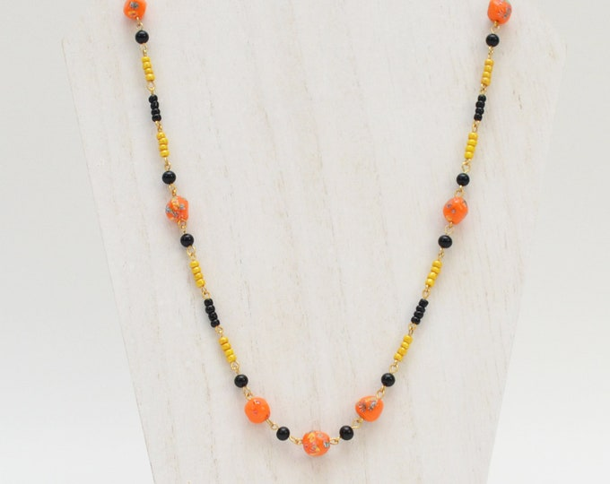 30s Art Glass Beaded Necklace - Vintage 1930s Black Orange and Yellow Beads