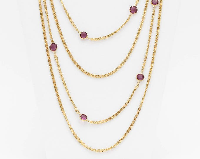 Vintage 1970s D'Orlan Gold Bezel Set Amethyst Multi Strand Necklace