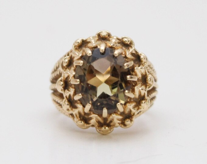 Vintage 1970s Smokey Topaz Gold Cocktail Ring - Size 6