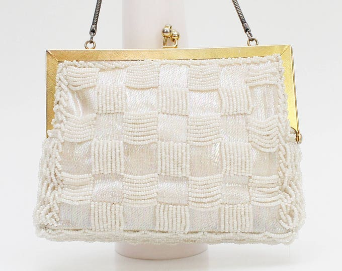 Vintage 1960s White Beaded Iridescent Evening Bag