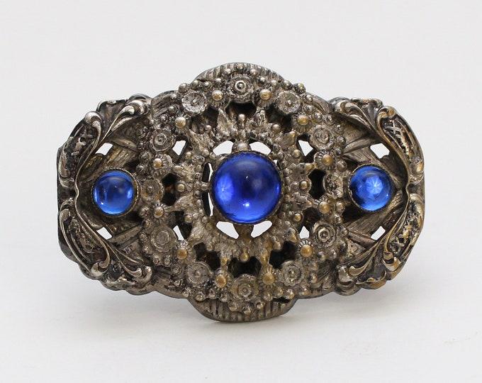 Vintage 1940s Art Nouveau Blue Stone Brooch