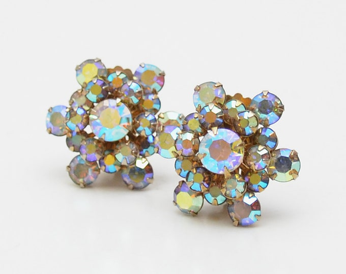 Vintage Aurora Borealis Rhinestone Cluster Earrings