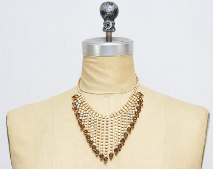 Vintage 1960s Rhinestone Bib Necklace