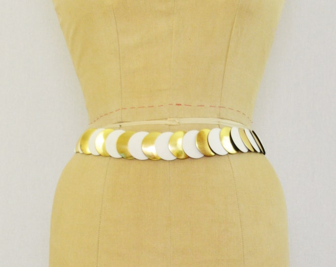 Vintage 1970s Gold and White Disc Belt - 31 Inches