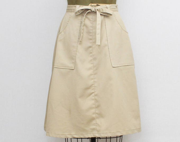 Vintage 1970s Khaki Wrap Skirt - Size Medium