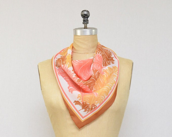 Vintage Feather Print Scarf - Made In Italy