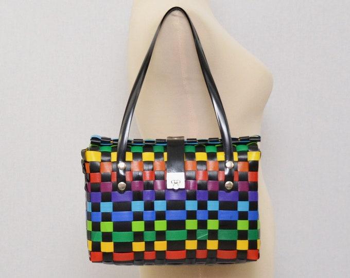Vintage 1980s Rainbow Woven Handbag