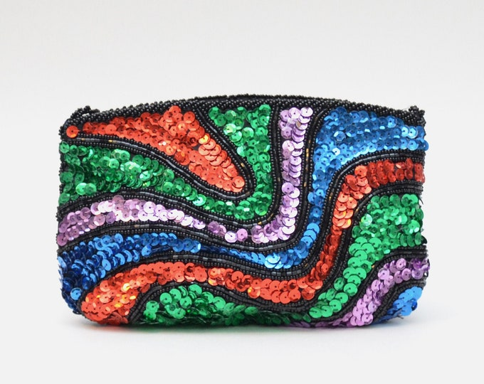 Vintage Gemstone Sequin Evening Bag - 1970s