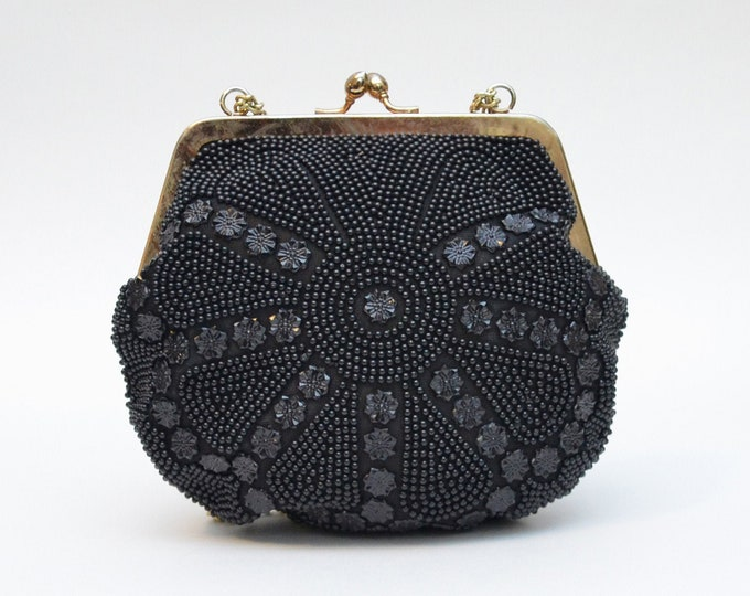 Vintage Black Beaded Handbag - 1960s