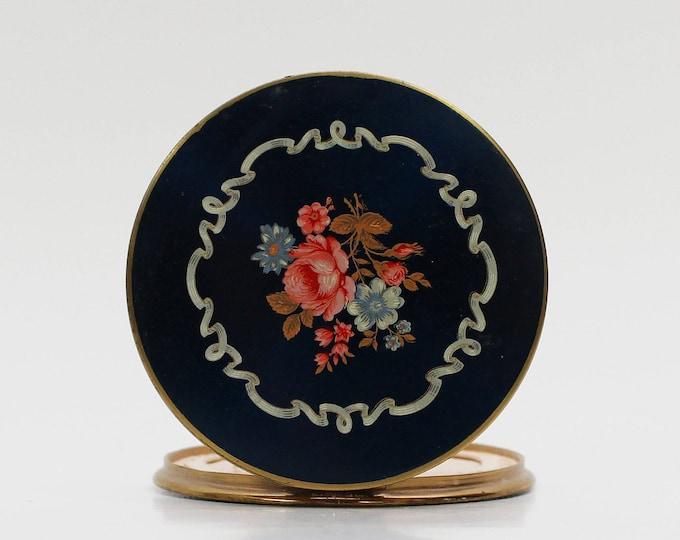Vintage 1950s Blue Floral Compact Mirror