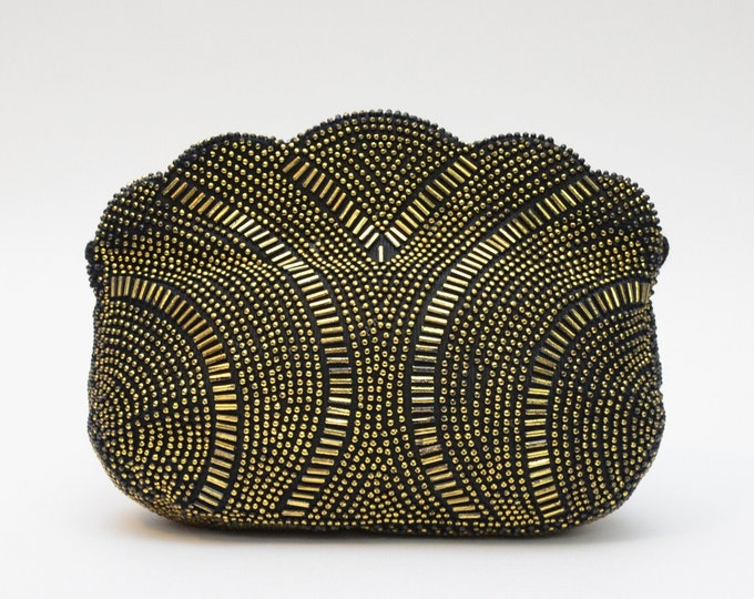 Vintage Gold and Black Beaded Evening Bag - 1960s