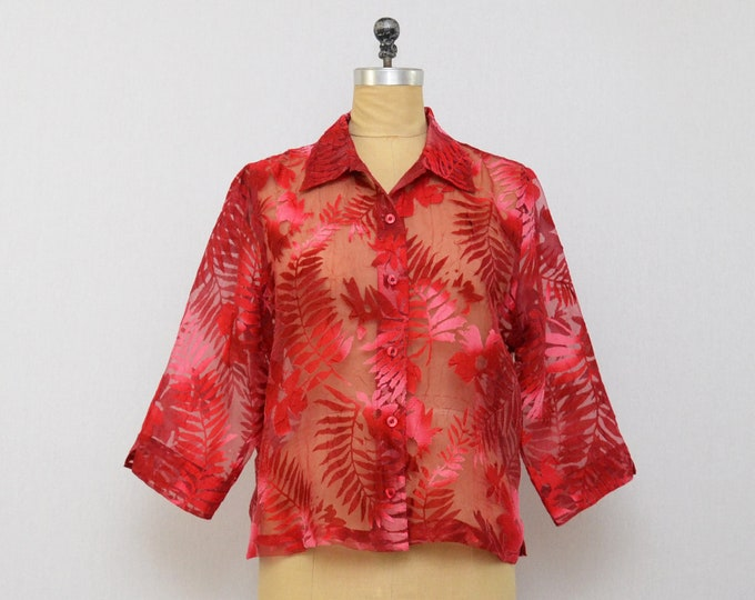 Vintage 1970s Red Tropical Burn Out Print Blouse - Size Large