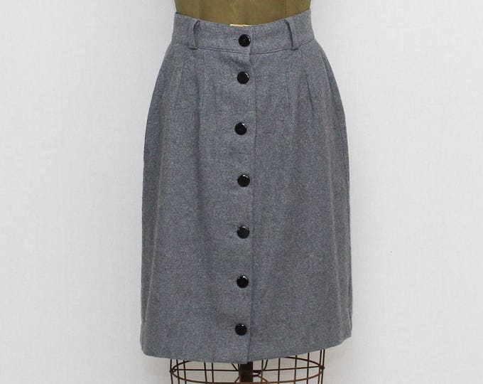 Vintage 1980s Grey High-Waisted Wool Skirt - 30 Inch Waist