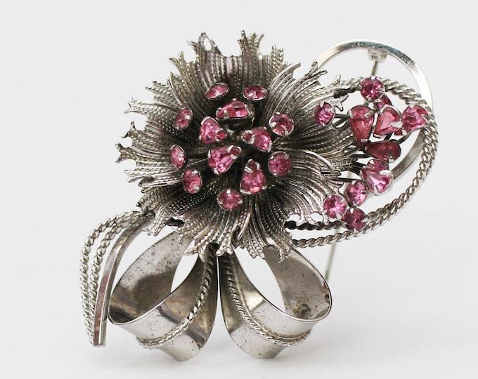 Sterling Silver Pink Rhinestone Flower Brooch - Vintage 1950s Bond Boyd Sterling Floral Pin