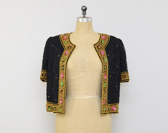 Sequin Beaded Blazer - Gem Tone Beaded Bolero Jacket - Vintage 1980s Laurence Kazar Beaded Top