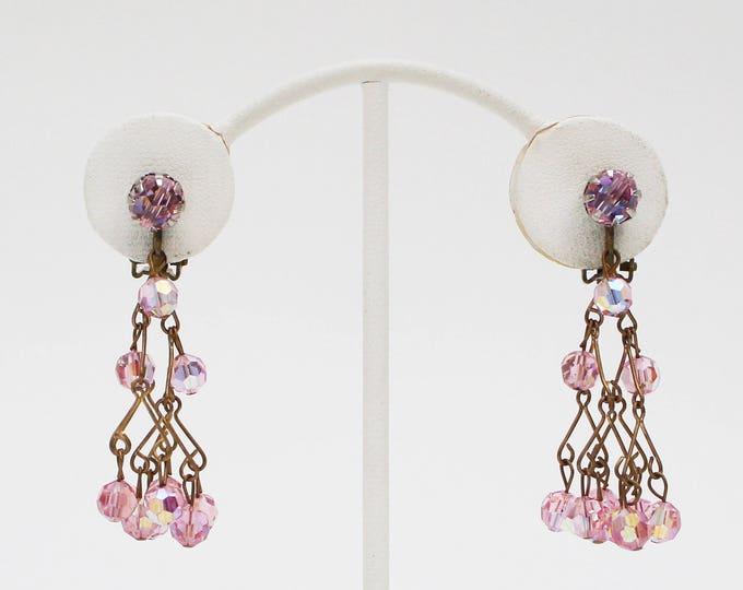 Vintage 1950s Pink Crystal Chandelier Earrings